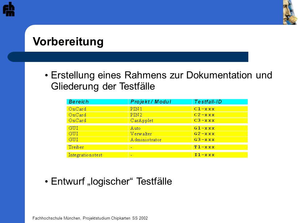 Fachhochschule München, Projektstudium Chipkarten SS 2002 Durchführung Prüfung der Spezifikationen Erstellen von Testskripts Durchführung der Tests mit Sm@rtCafé Auswertung der Logfiles Dokumentation Informationsweitergabe an die verantwortlichen Gruppen