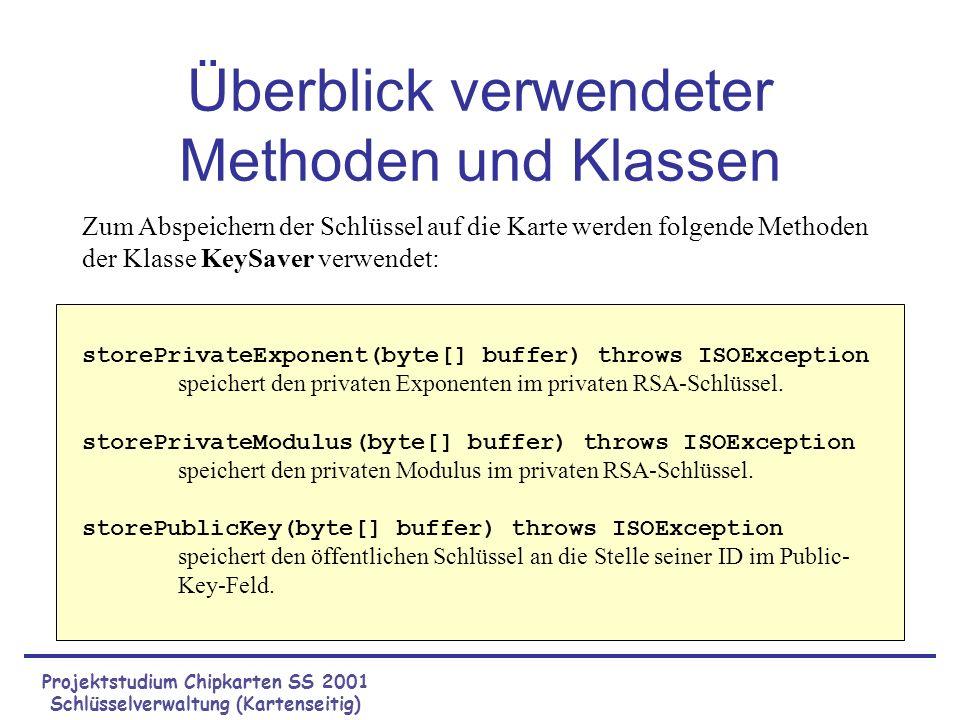 Projektstudium Chipkarten SS 2001 Schlüsselverwaltung (Kartenseitig) Überblick verwendeter Methoden und Klassen (Fortsetzung) getPrivateKeyID(byte[] buffer) throws ISOException gibt die ID des privaten Schlüssels zurück.