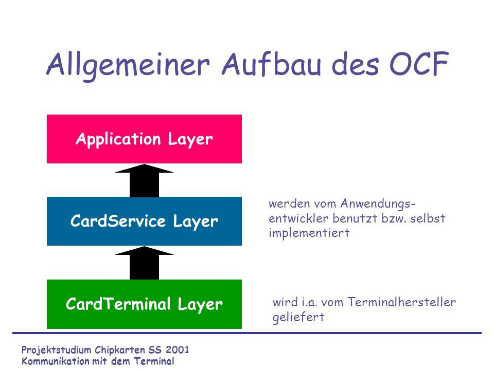 Implementierung I CardTerminal Layer von G&D –GDCardTerminalFactory CardService Layer –Implementierung eines Services, der die APDUs sendet/empfängt und die APDUs auswertet –Kapselung in einer Klasse Projektstudium Chipkarten SS 2001 Kommunikation mit dem Terminal
