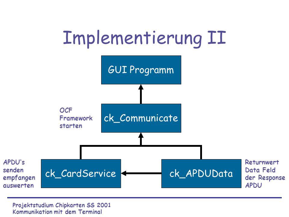 Implementierung II ck_CardServiceck_APDUData ck_Communicate Projektstudium Chipkarten SS 2001 Kommunikation mit dem Terminal GUI Programm APDUs senden empfangen auswerten Returnwert Data Feld der Response APDU OCF Framework starten