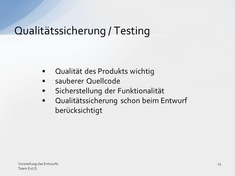 Qualität des Produkts wichtig sauberer Quellcode Sicherstellung der Funktionalität Qualitätssicherung schon beim Entwurf berücksichtigt Qualitätssiche