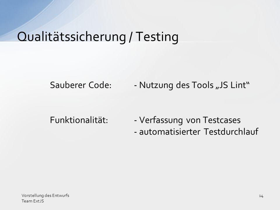 Sauberer Code:- Nutzung des Tools JS Lint Funktionalität:- Verfassung von Testcases - automatisierter Testdurchlauf Qualitätssicherung / Testing Vorst