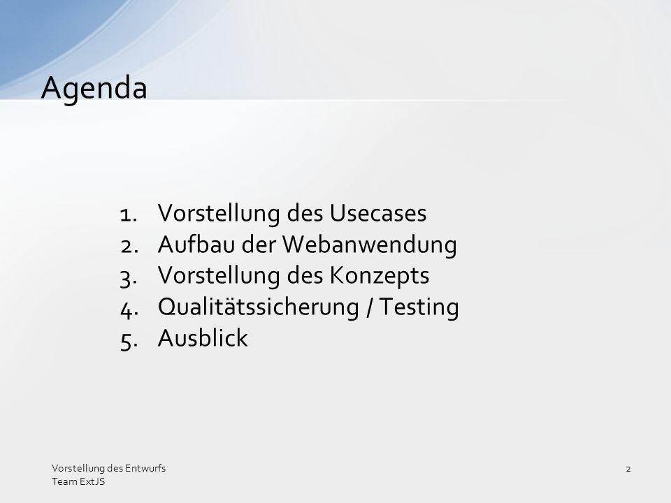 Qualität des Produkts wichtig sauberer Quellcode Sicherstellung der Funktionalität Qualitätssicherung schon beim Entwurf berücksichtigt Qualitätssicherung / Testing Vorstellung des Entwurfs Team ExtJS 13
