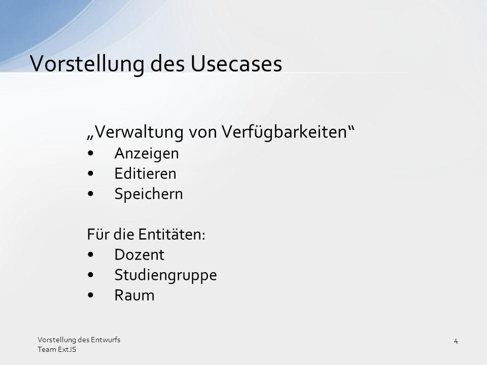 Verwaltung von Verfügbarkeiten Anzeigen Editieren Speichern Für die Entitäten: Dozent Studiengruppe Raum Vorstellung des Usecases Vorstellung des Entw