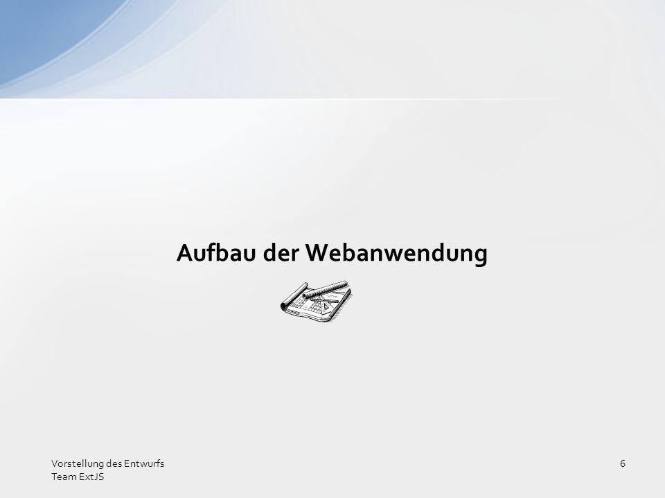 Aufbau der Webanwendung Vorstellung des Entwurfs Team ExtJS 7 HEADER NAVIMAIN