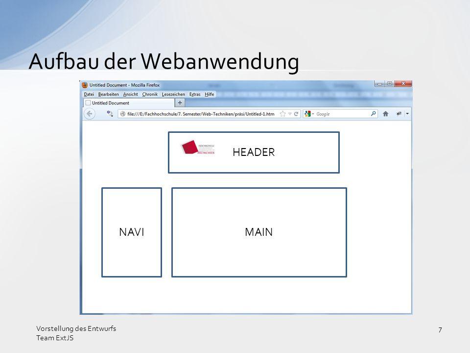 Vorstellung des Konzepts Vorstellung des Entwurfs Team ExtJS 8