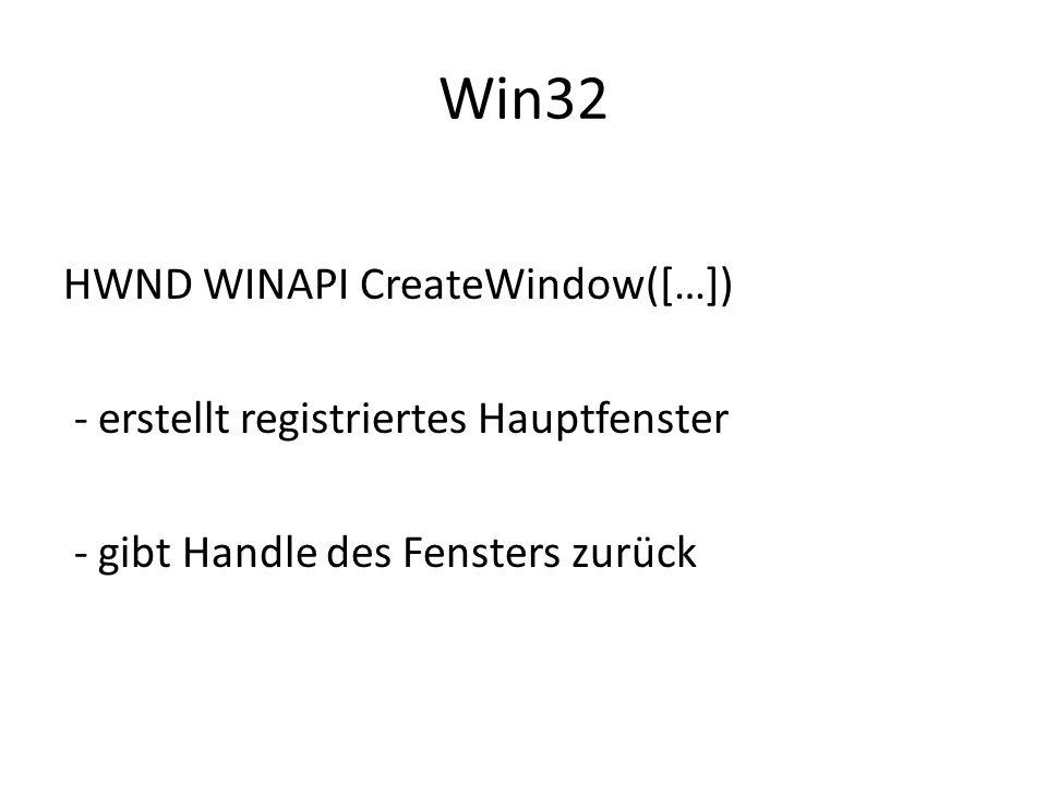 Win32 HWND WINAPI CreateWindow([…]) - erstellt registriertes Hauptfenster - gibt Handle des Fensters zurück