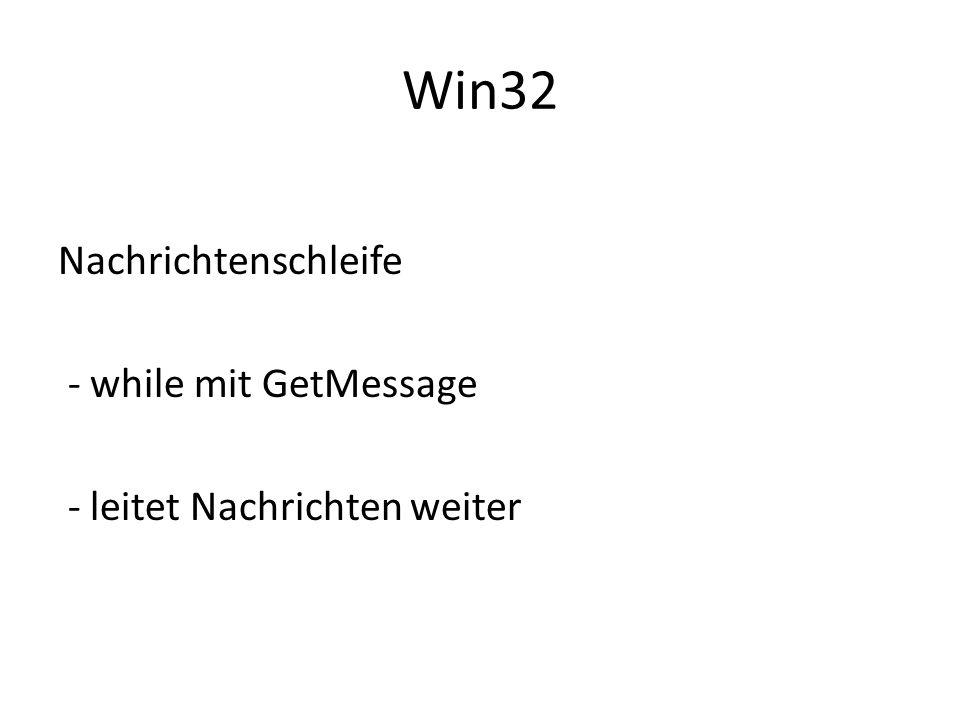 Win32 Nachrichtenschleife - while mit GetMessage - leitet Nachrichten weiter