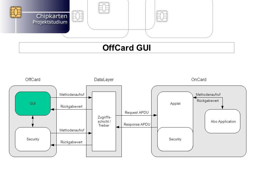 OffCard GUI Aufgaben von OffCard GUI –Administrationstool für die Chipkartenanwendung –Graphische Oberfläche mit Java Swing Kommunikation mit anderen Komponenten –Kommuniziert mit der OnCard Applet Anwendung –Verwendet Klassen der OffCard Security Aktionen von OffCard GUI –Lesen der Datensätze je Provider –Anlegen der Datensätze je Provider –Löschen der Datensätze je Provider Projekt Manager