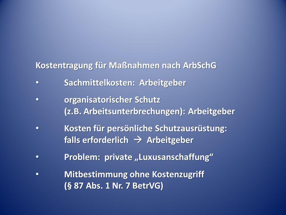 Kostentragung für Maßnahmen nach ArbSchG Sachmittelkosten: Arbeitgeber Sachmittelkosten: Arbeitgeber organisatorischer Schutz (z.B.