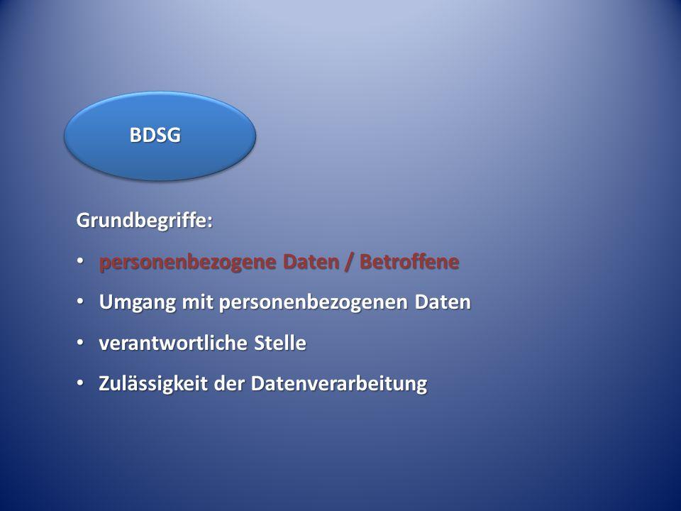 Grundbegriffe: personenbezogene Daten / Betroffene personenbezogene Daten / Betroffene Umgang mit personenbezogenen Daten Umgang mit personenbezogenen