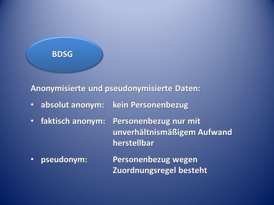 Anonymisierte und pseudonymisierte Daten: absolut anonym: kein Personenbezug absolut anonym: kein Personenbezug faktisch anonym:Personenbezug nur mit