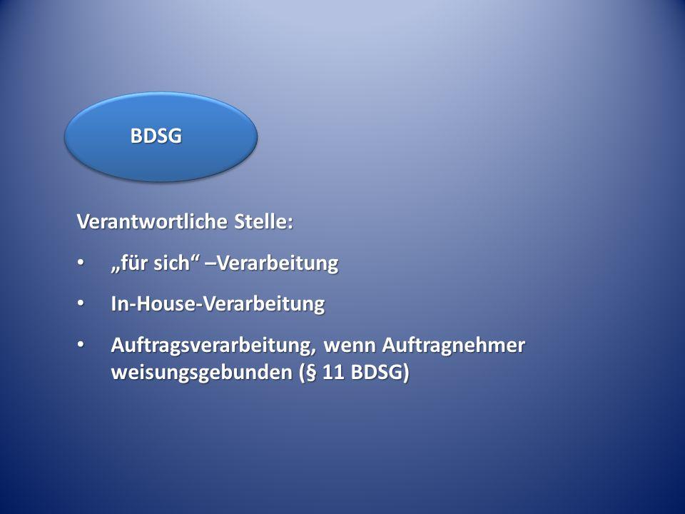 Verantwortliche Stelle: für sich –Verarbeitung für sich –Verarbeitung In-House-Verarbeitung In-House-Verarbeitung Auftragsverarbeitung, wenn Auftragne