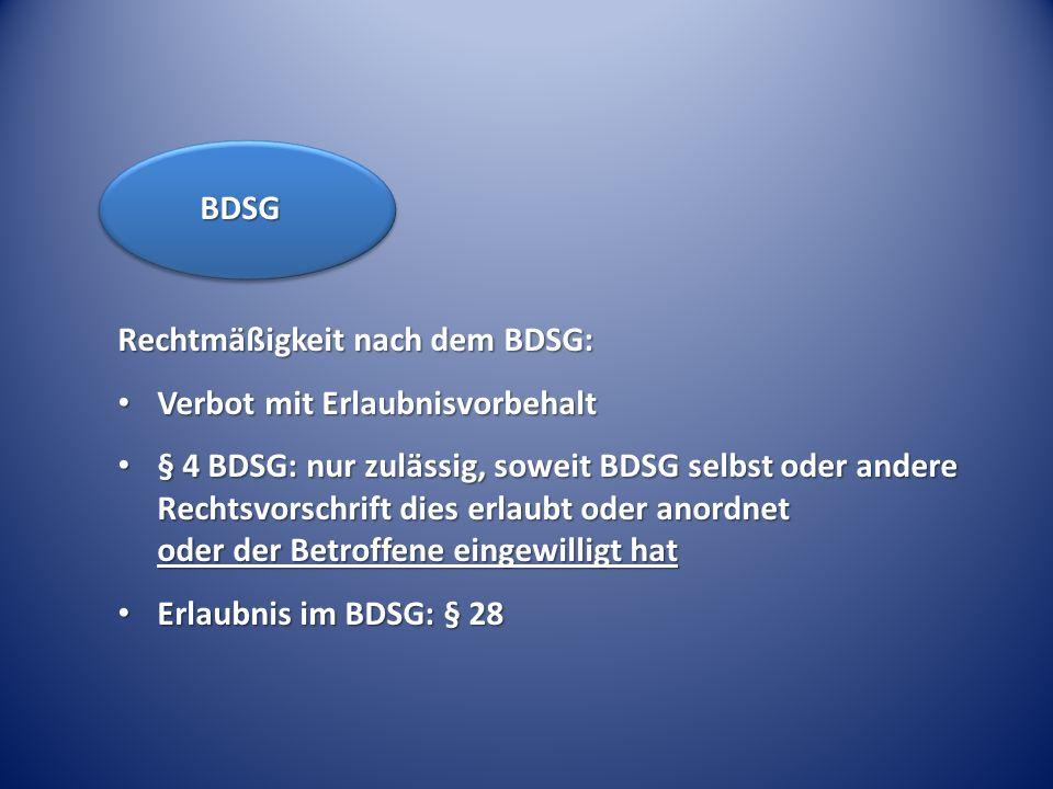 Rechtmäßigkeit nach dem BDSG: Verbot mit Erlaubnisvorbehalt Verbot mit Erlaubnisvorbehalt § 4 BDSG: nur zulässig, soweit BDSG selbst oder andere Recht