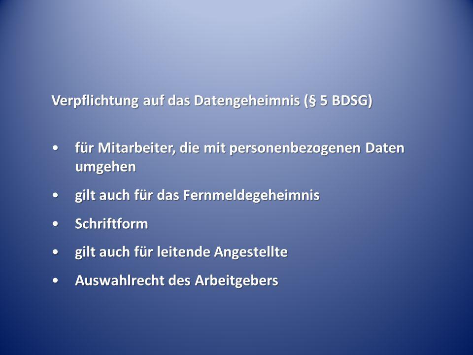 Verpflichtung auf das Datengeheimnis (§ 5 BDSG) für Mitarbeiter, die mit personenbezogenen Daten umgehenfür Mitarbeiter, die mit personenbezogenen Dat