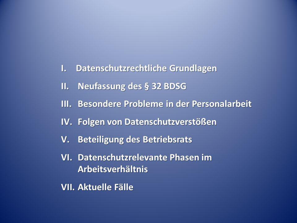 I. Datenschutzrechtliche Grundlagen II.Neufassung des § 32 BDSG III.Besondere Probleme in der Personalarbeit IV.Folgen von Datenschutzverstößen V.Bete