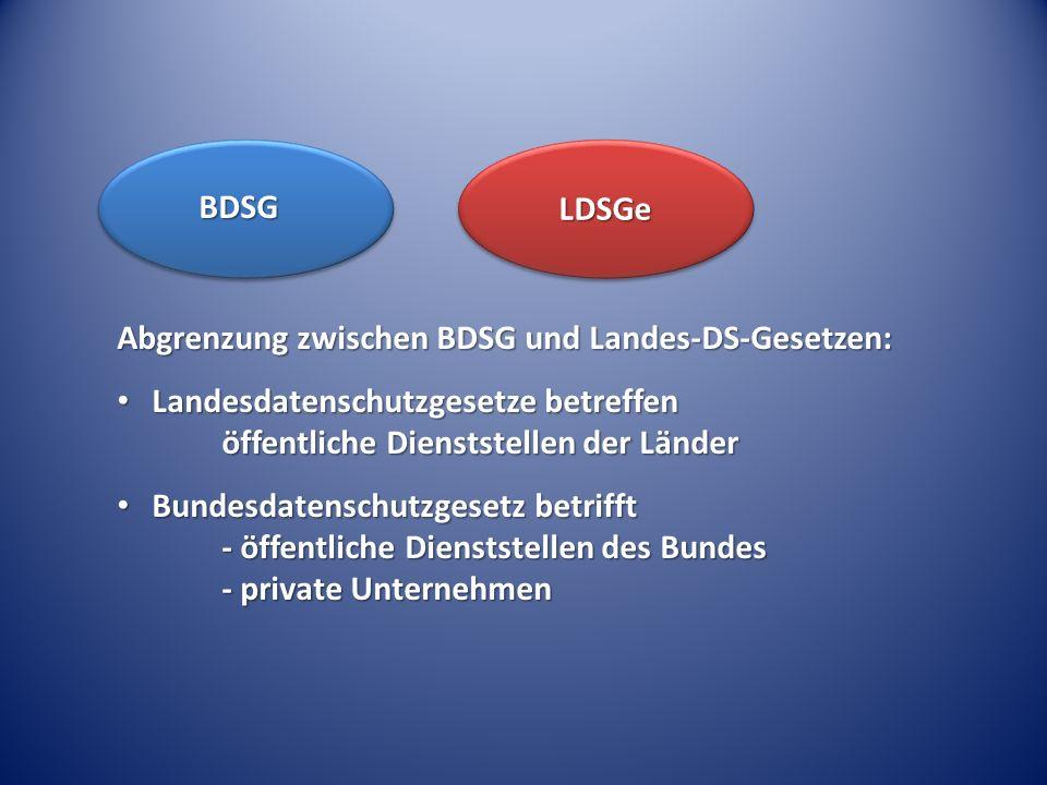 Abgrenzung zwischen BDSG und Landes-DS-Gesetzen: Landesdatenschutzgesetze betreffen öffentliche Dienststellen der Länder Landesdatenschutzgesetze betr