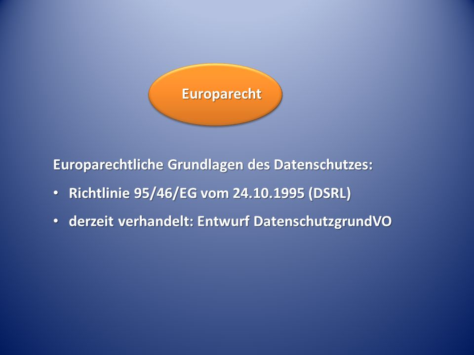 Europarechtliche Grundlagen des Datenschutzes: Richtlinie 95/46/EG vom 24.10.1995 (DSRL) Richtlinie 95/46/EG vom 24.10.1995 (DSRL) derzeit verhandelt: