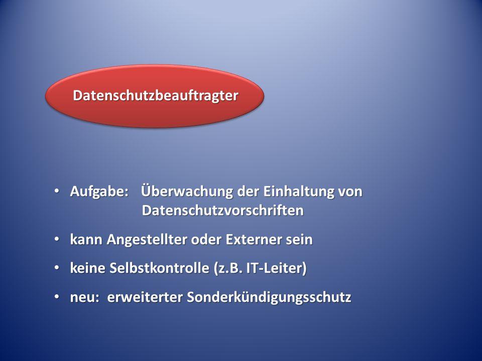 Aufgabe: Überwachung der Einhaltung von Datenschutzvorschriften Aufgabe: Überwachung der Einhaltung von Datenschutzvorschriften kann Angestellter oder Externer sein kann Angestellter oder Externer sein keine Selbstkontrolle (z.B.
