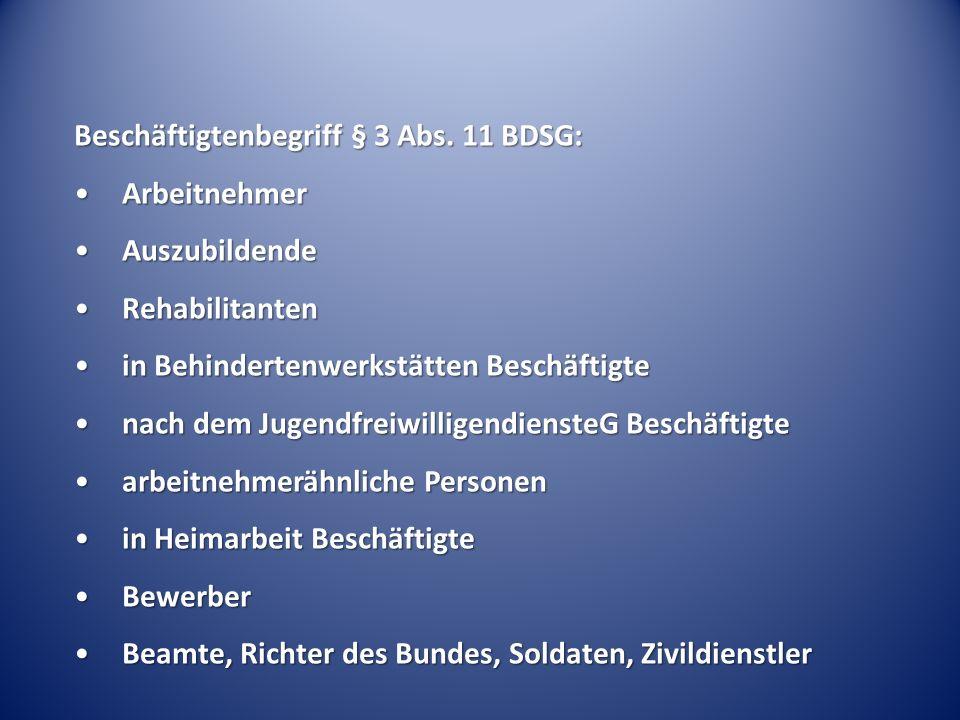 Beschäftigtenbegriff § 3 Abs.