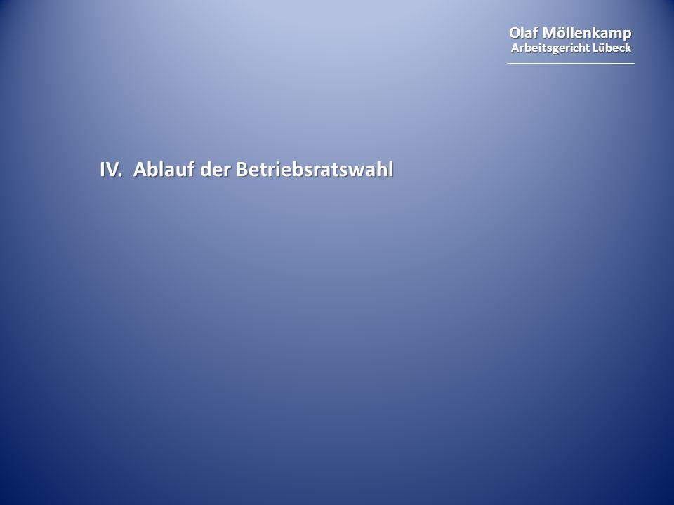 Olaf Möllenkamp Arbeitsgericht Lübeck IV. Ablauf der Betriebsratswahl