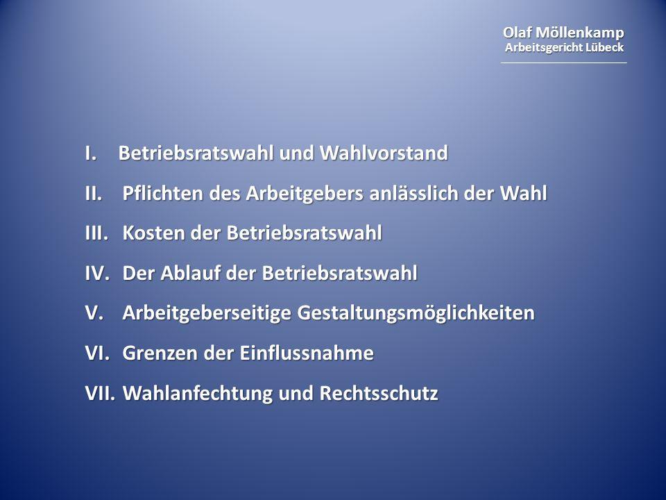 Olaf Möllenkamp Arbeitsgericht Lübeck I. Betriebsratswahl und Wahlvorstand II.Pflichten des Arbeitgebers anlässlich der Wahl III.Kosten der Betriebsra