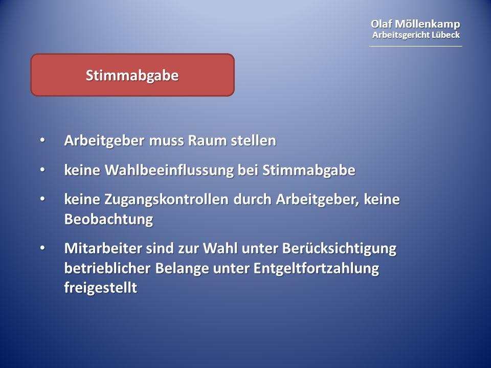 Olaf Möllenkamp Arbeitsgericht Lübeck Stimmabgabe Arbeitgeber muss Raum stellen Arbeitgeber muss Raum stellen keine Wahlbeeinflussung bei Stimmabgabe