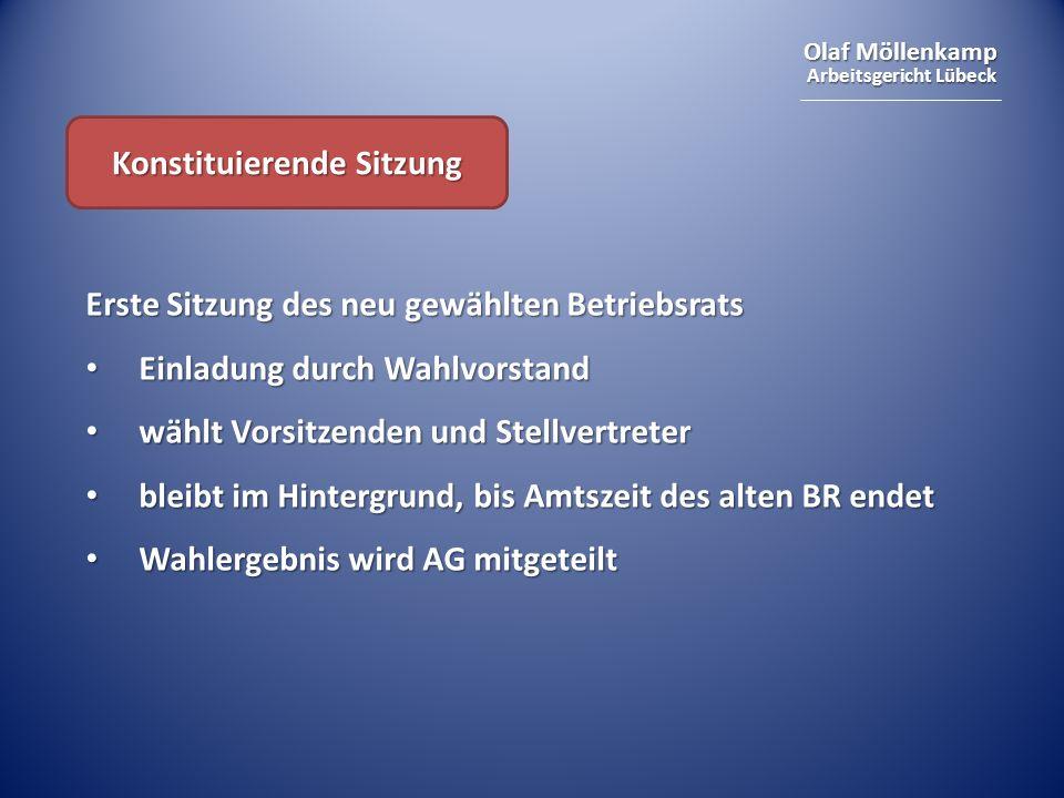 Olaf Möllenkamp Arbeitsgericht Lübeck Konstituierende Sitzung Erste Sitzung des neu gewählten Betriebsrats Einladung durch Wahlvorstand Einladung durc