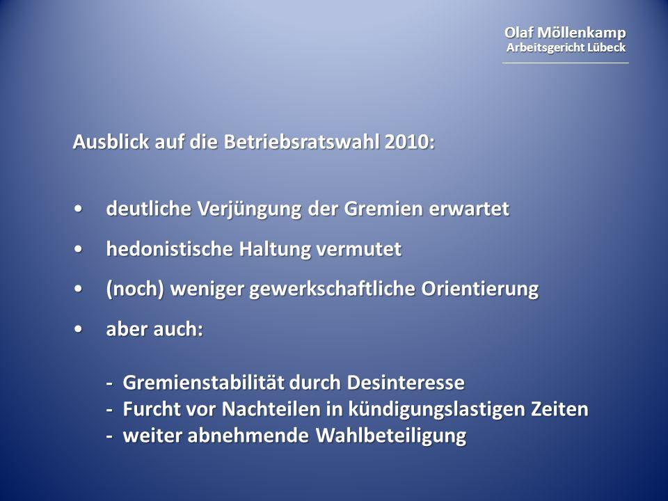 Olaf Möllenkamp Arbeitsgericht Lübeck Ausblick auf die Betriebsratswahl 2010: deutliche Verjüngung der Gremien erwartetdeutliche Verjüngung der Gremie