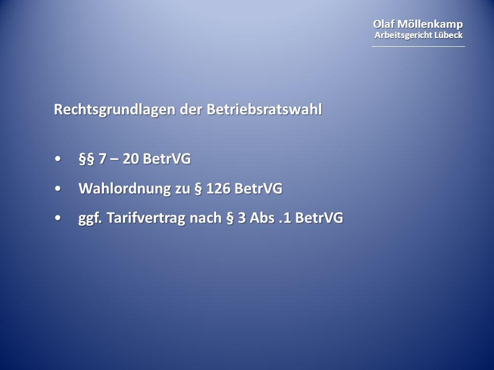 Olaf Möllenkamp Arbeitsgericht Lübeck Eckdaten der Betriebsratswahl Zeitraum: 01.03.2010 – 31.05.2010Zeitraum: 01.03.2010 – 31.05.2010 kein bindender Fristenvorlaufkein bindender Fristenvorlauf i.d.R.