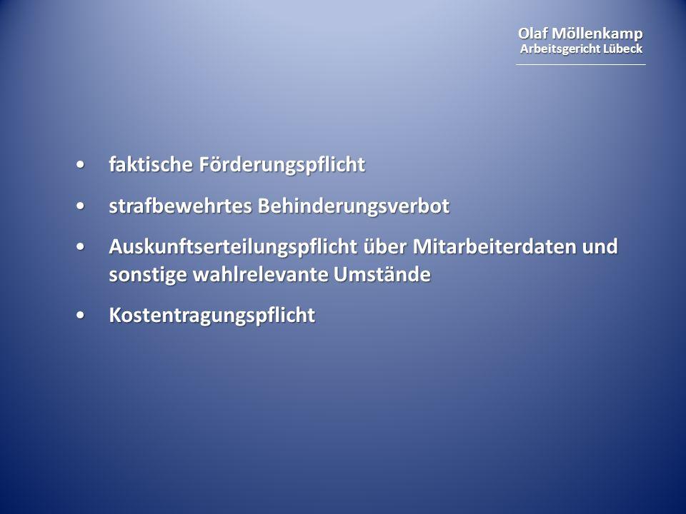 Olaf Möllenkamp Arbeitsgericht Lübeck faktische Förderungspflichtfaktische Förderungspflicht strafbewehrtes Behinderungsverbotstrafbewehrtes Behinderu
