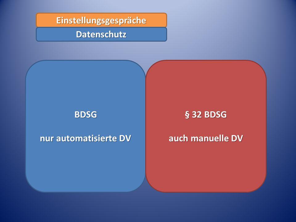 BDSG nur automatisierte DV § 32 BDSG auch manuelle DV Einstellungsgespräche Datenschutz