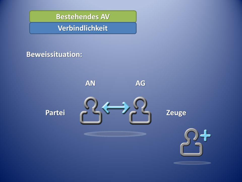 Bestehendes AV Beweissituation: Verbindlichkeit AN AG Partei Zeuge