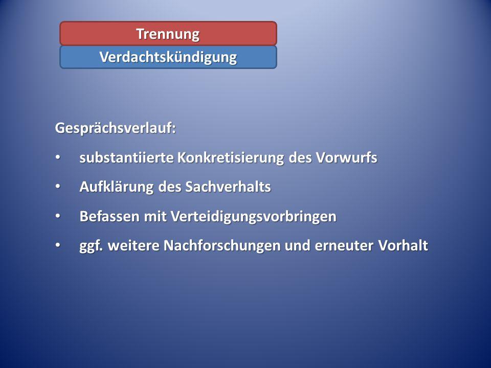 Gesprächsverlauf: substantiierte Konkretisierung des Vorwurfs substantiierte Konkretisierung des Vorwurfs Aufklärung des Sachverhalts Aufklärung des S