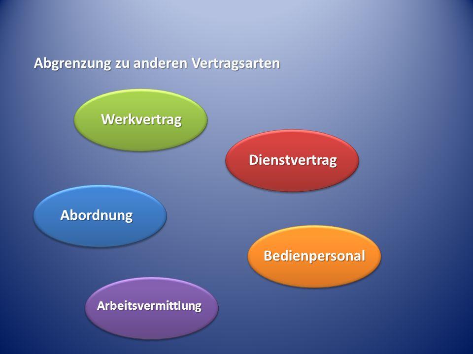 Werkvertrag Dienstvertrag Abordnung Bedienpersonal Arbeitsvermittlung Abgrenzung zu anderen Vertragsarten