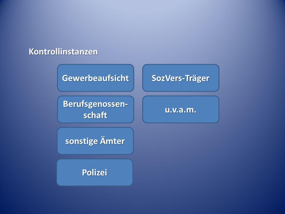 Kontrollinstanzen Gewerbeaufsicht Berufsgenossen- schaft sonstige Ämter Polizei SozVers-Träger u.v.a.m.