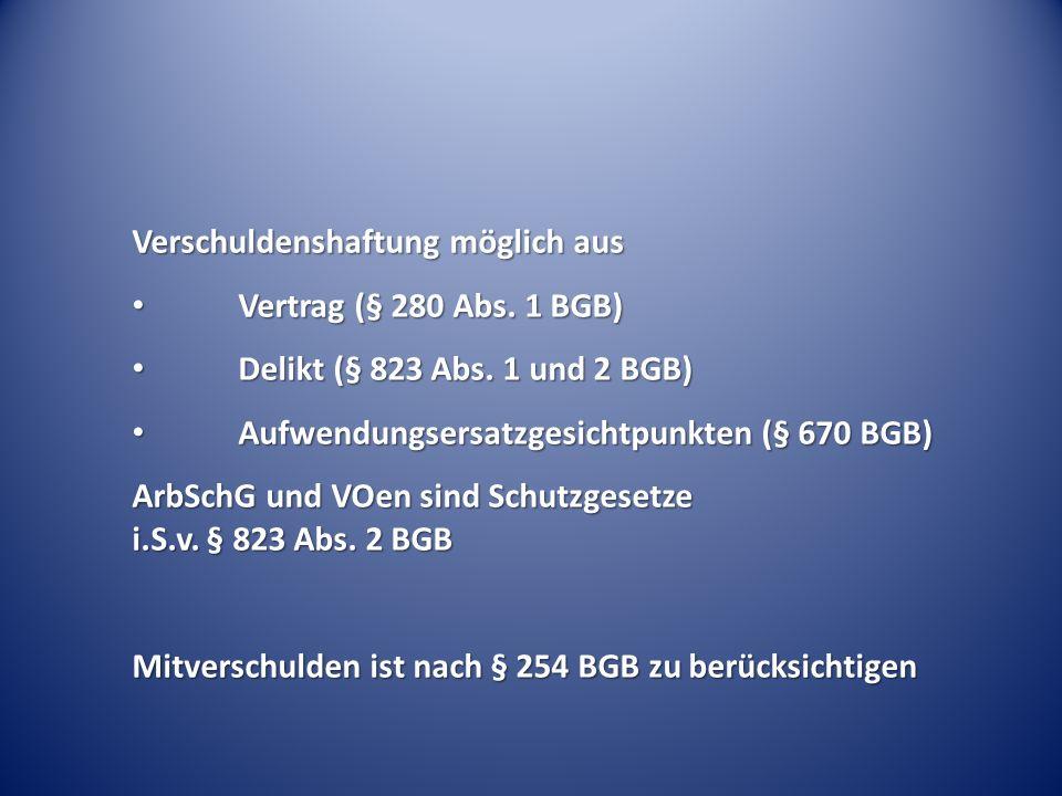 Verschuldenshaftung möglich aus Vertrag (§ 280 Abs. 1 BGB) Vertrag (§ 280 Abs. 1 BGB) Delikt (§ 823 Abs. 1 und 2 BGB) Delikt (§ 823 Abs. 1 und 2 BGB)