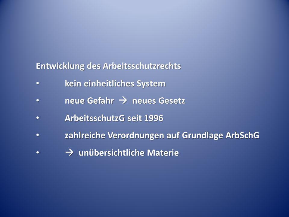 Entwicklung des Arbeitsschutzrechts kein einheitliches System kein einheitliches System neue Gefahr neues Gesetz neue Gefahr neues Gesetz Arbeitsschut