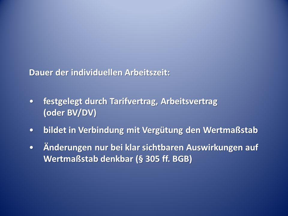 Dauer der individuellen Arbeitszeit: festgelegt durch Tarifvertrag, Arbeitsvertrag (oder BV/DV)festgelegt durch Tarifvertrag, Arbeitsvertrag (oder BV/