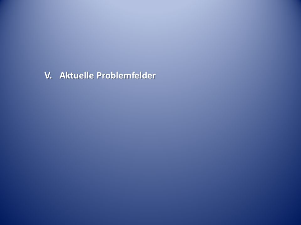 V. Aktuelle Problemfelder
