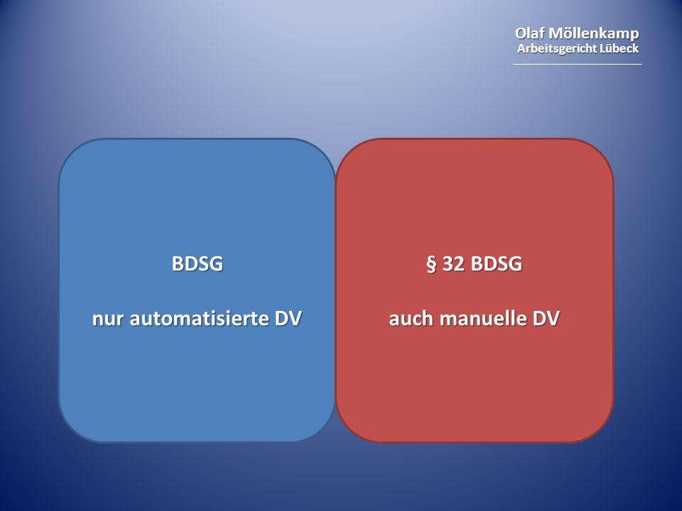 Olaf Möllenkamp Arbeitsgericht Lübeck BDSG nur automatisierte DV § 32 BDSG auch manuelle DV