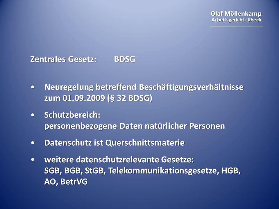 Olaf Möllenkamp Arbeitsgericht Lübeck Zentrales Gesetz:BDSG Neuregelung betreffend Beschäftigungsverhältnisse zum 01.09.2009 (§ 32 BDSG)Neuregelung be