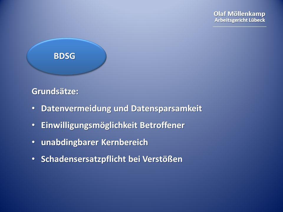 Olaf Möllenkamp Arbeitsgericht Lübeck Grundsätze: Datenvermeidung und Datensparsamkeit Datenvermeidung und Datensparsamkeit Einwilligungsmöglichkeit B