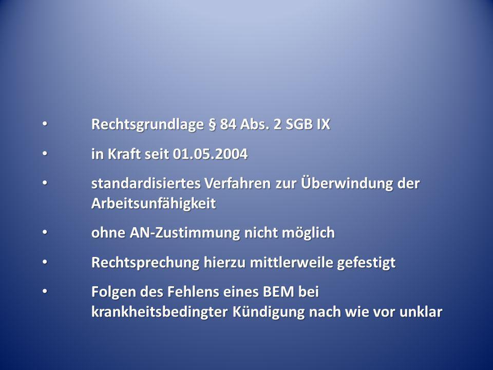 Rechtsgrundlage § 84 Abs. 2 SGB IX Rechtsgrundlage § 84 Abs. 2 SGB IX in Kraft seit 01.05.2004 in Kraft seit 01.05.2004 standardisiertes Verfahren zur