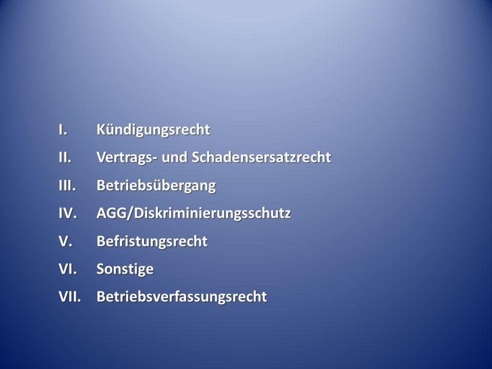 I.Kündigungsrecht II.Vertrags- und Schadensersatzrecht III.Betriebsübergang IV.AGG/Diskriminierungsschutz V.Befristungsrecht VI.Sonstige VII.Betriebsv