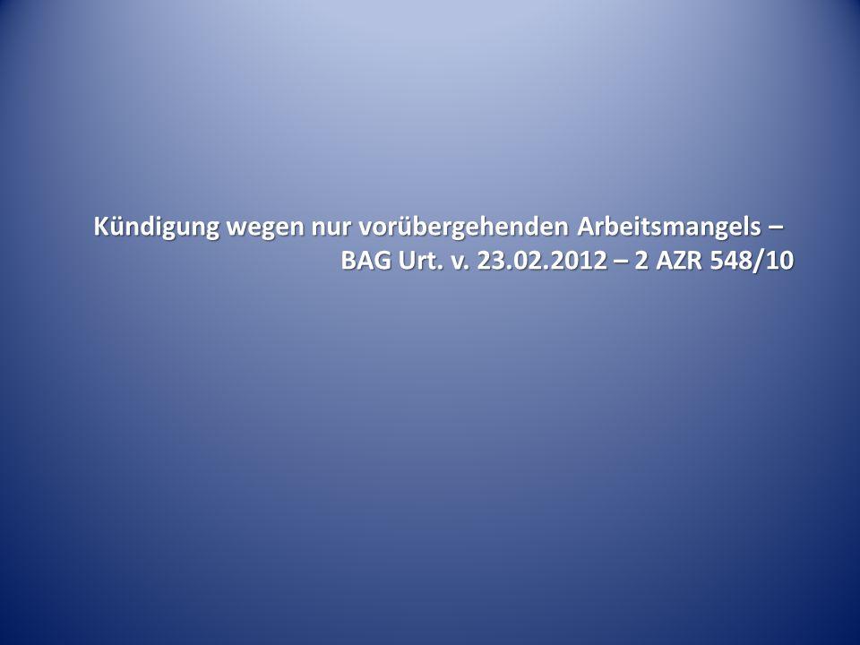 Schadensersatz wegen Gehaltseinbußen – BAG Urt. v. 16.02.2012 – 8 AZR 98/11