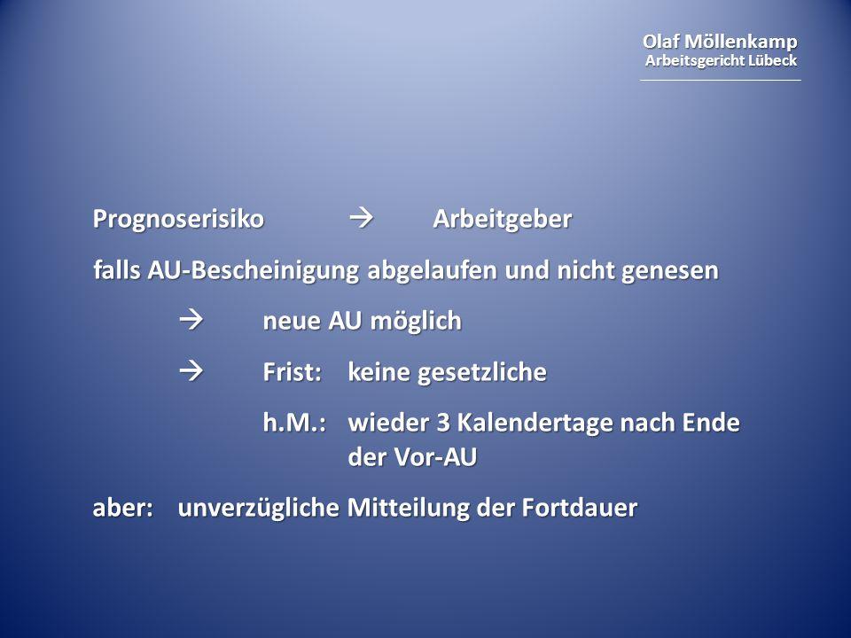 Olaf Möllenkamp Arbeitsgericht Lübeck Grundprüfungsschema immer gleich: 1.negative gesundheitliche Prognose 2.erhebliche Beeinträchtigung betrieblicher Interessen 3.Interessenabwägung