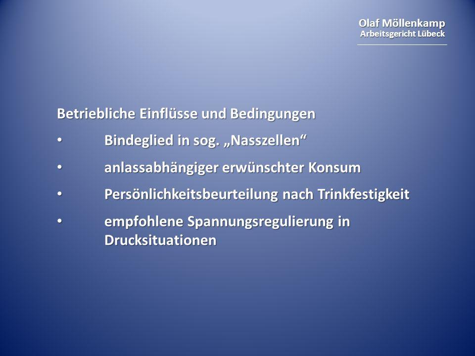 Olaf Möllenkamp Arbeitsgericht Lübeck Betriebliche Einflüsse und Bedingungen Bindeglied in sog.