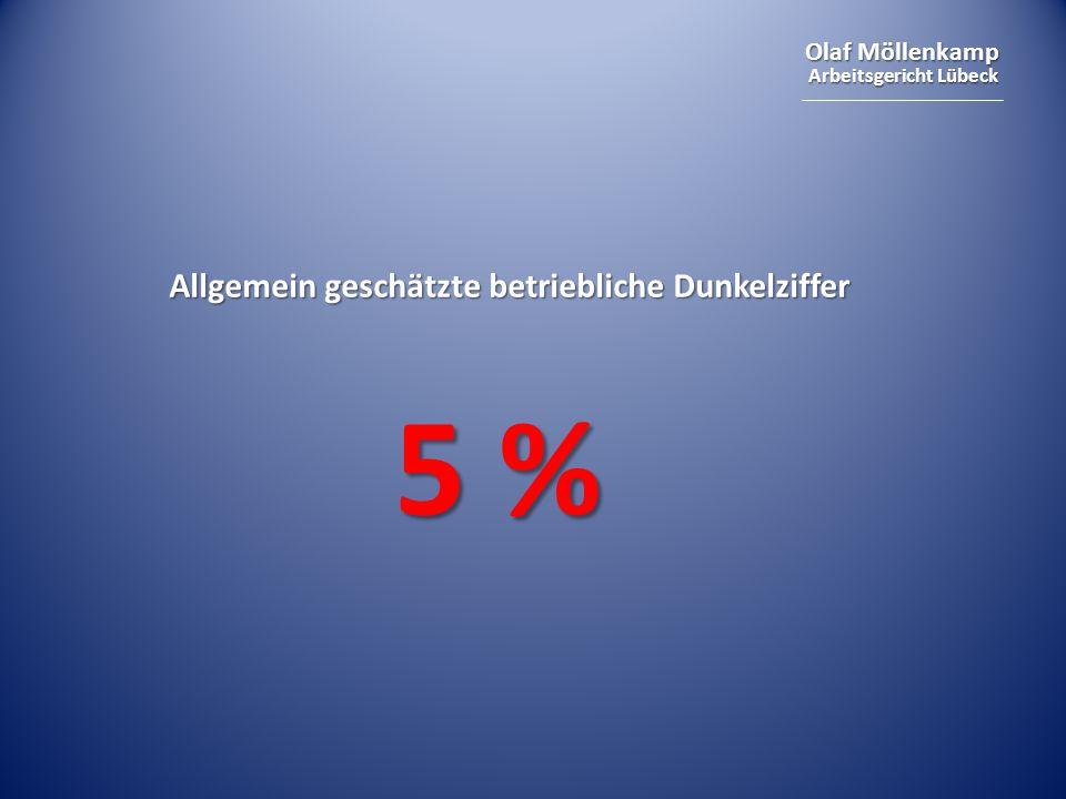 Olaf Möllenkamp Arbeitsgericht Lübeck Allgemein geschätzte betriebliche Dunkelziffer 5 %
