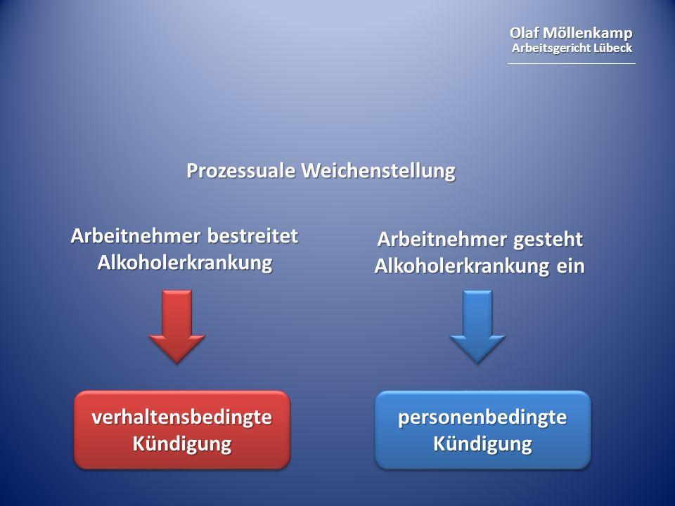 Olaf Möllenkamp Arbeitsgericht Lübeck Prozessuale Weichenstellung verhaltensbedingte Kündigung personenbedingte Kündigung Arbeitnehmer bestreitet Alkoholerkrankung Arbeitnehmer gesteht Alkoholerkrankung ein